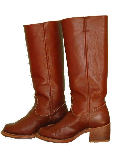 This picture shows a pair of vintage, oxblood campus boots that look very much like Frye boots.