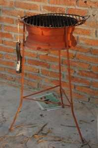 This is a rim and rebar barbecue found in Mazatlan, Mexico.