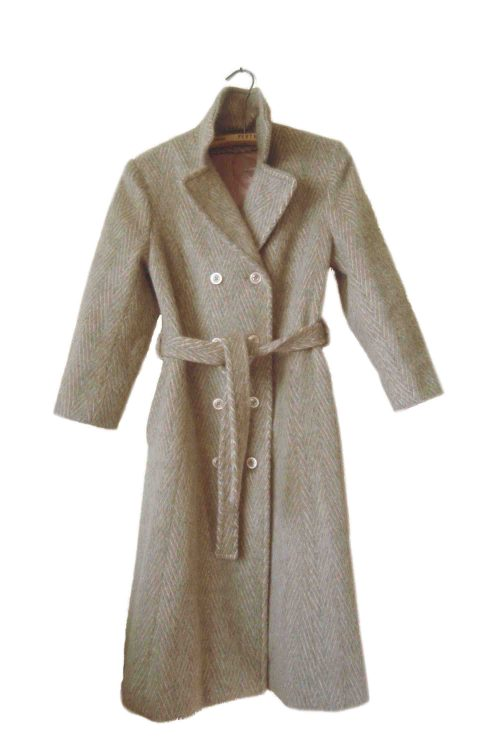 This picture shows a vintage wool double-breasted women's coat.