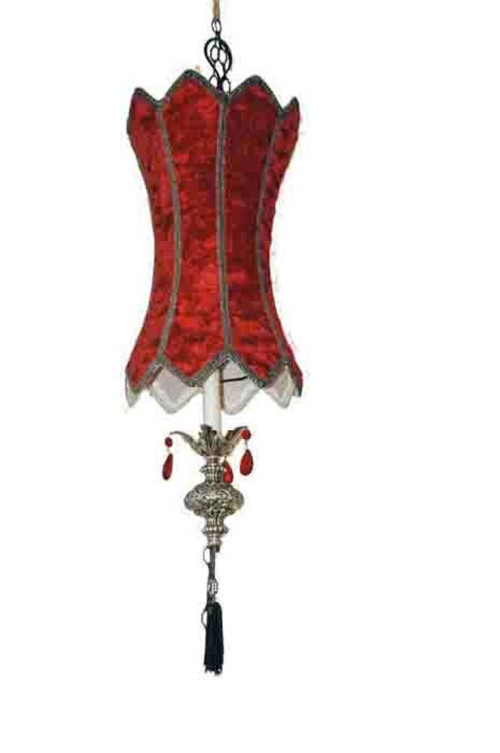 This picture shows a red mid-century vintage velvet swag lamp with crystals.