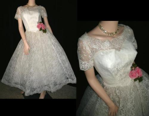 This picture shows a 1950s Chantilly lace wedding dress with full skirt, bullet bust, and paper doll silhouette.